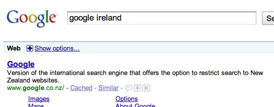 google ireland or google new zealand? - Google Search