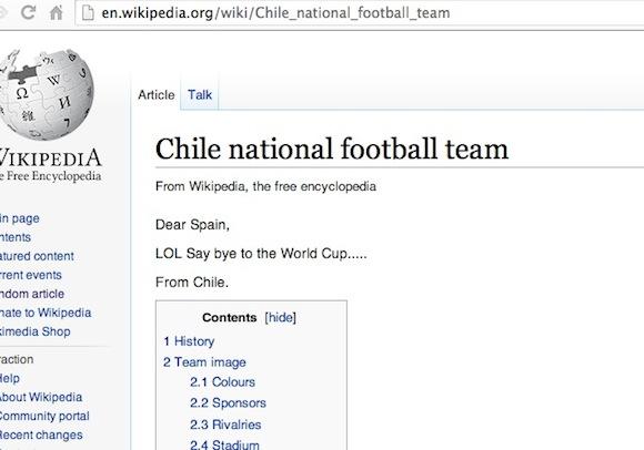 Chile dá adeus a Espanha na Wikipedia