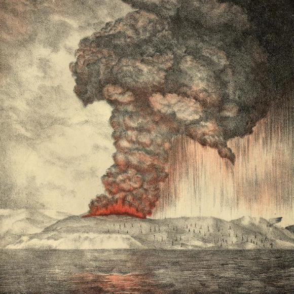 A lithograph of the massive 1883 eruption of Krakatoa