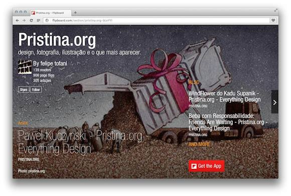 Pristina.org como revista no Flipboard